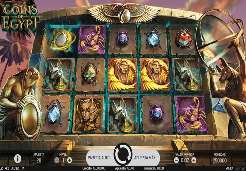 Coins of Egypt es un juego ambientado en Antiguo Egipto con un alto RTP