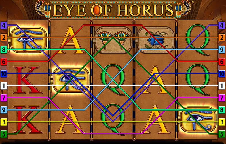 Tablero del juego de ambientación egipcia Eye of Horus de Merkur Gaming