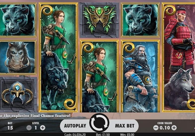 Panel de juego de la tragaperras temática de fantasía Warlords: Crystals of Power