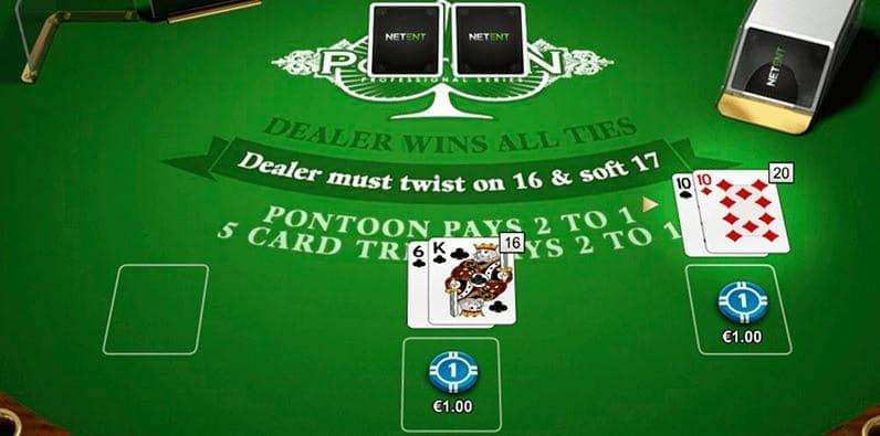 Una captura de pantalla del juego de Pontoon online