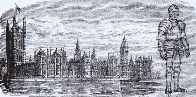 Una armadura y el parlamento británico